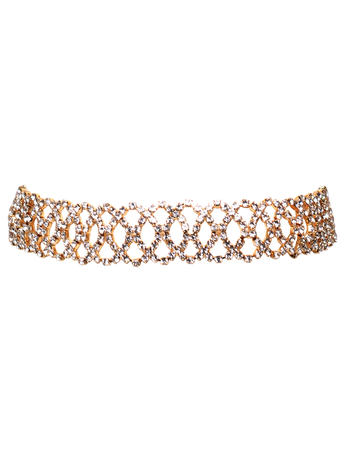 Image of Attention Diamante Chain Detail Choker In Gold