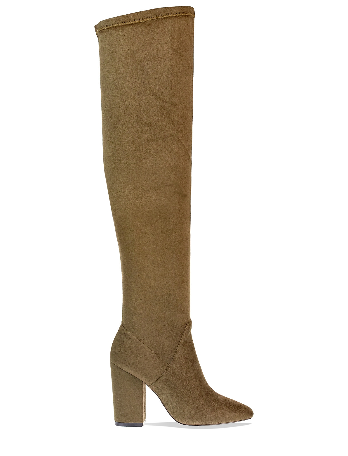 higher the knee boots in khaki faux suede lamoda