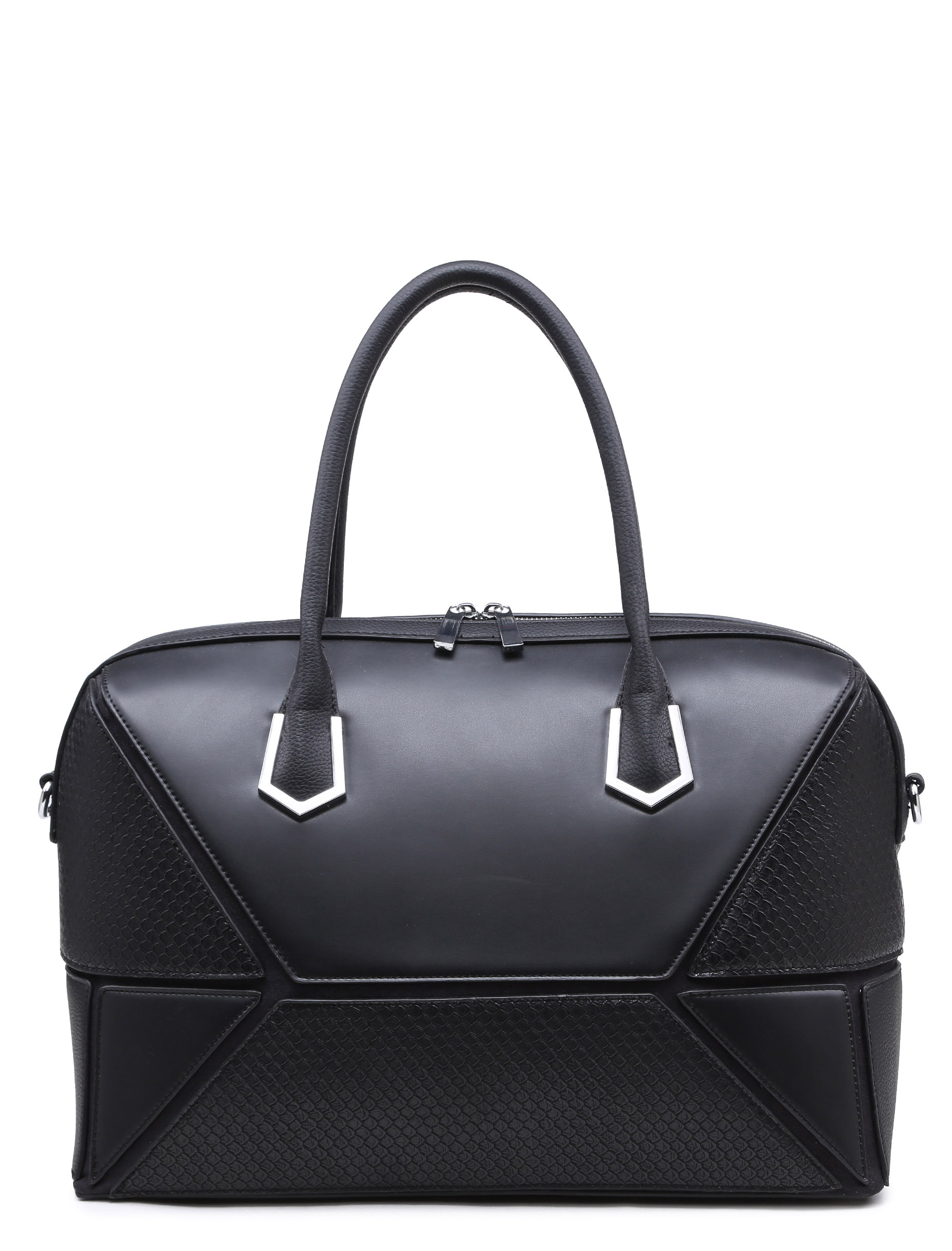 SAY MY NAME LAMODA PREMIUM BLACK FAUX LEATHER PATCHWORK HOLDALL BAG